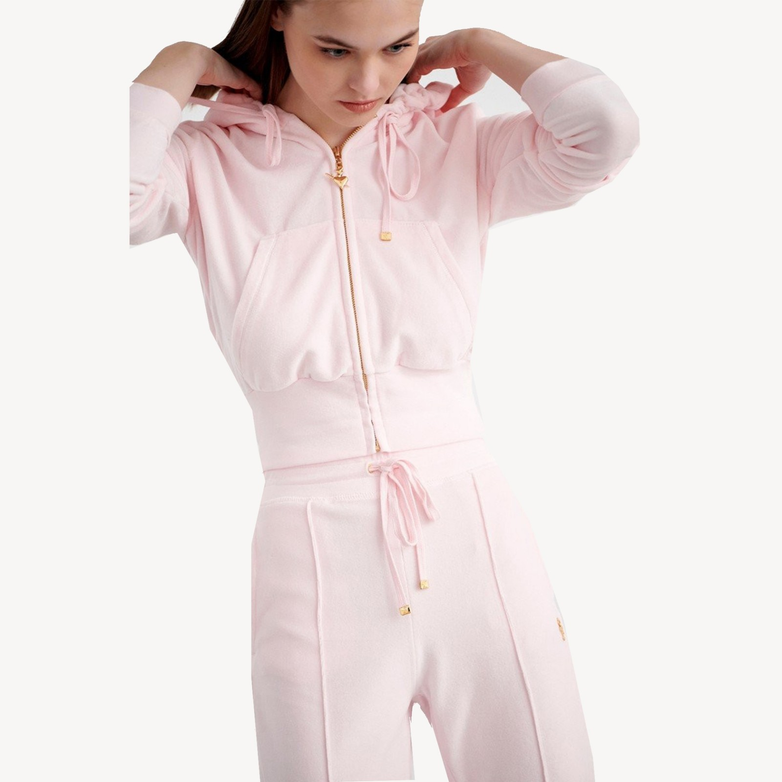 Velour zip and velour trousers baby pink Sugarfree collection familycloset