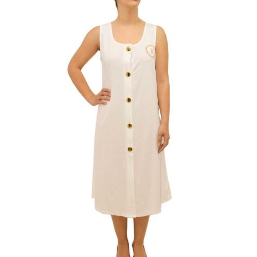 Φόρεμα πετσετέ με κουμπιά Nota 22-S18111 - λευκό