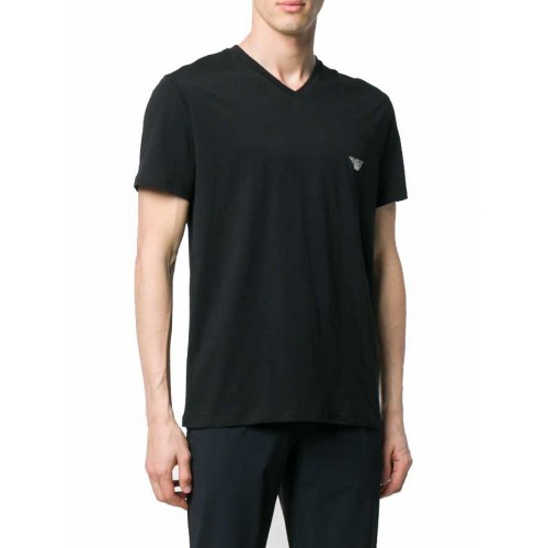 T-shirt V neck Pima Cotton Emporio Armani EA7 1115569P710 - μαύρο