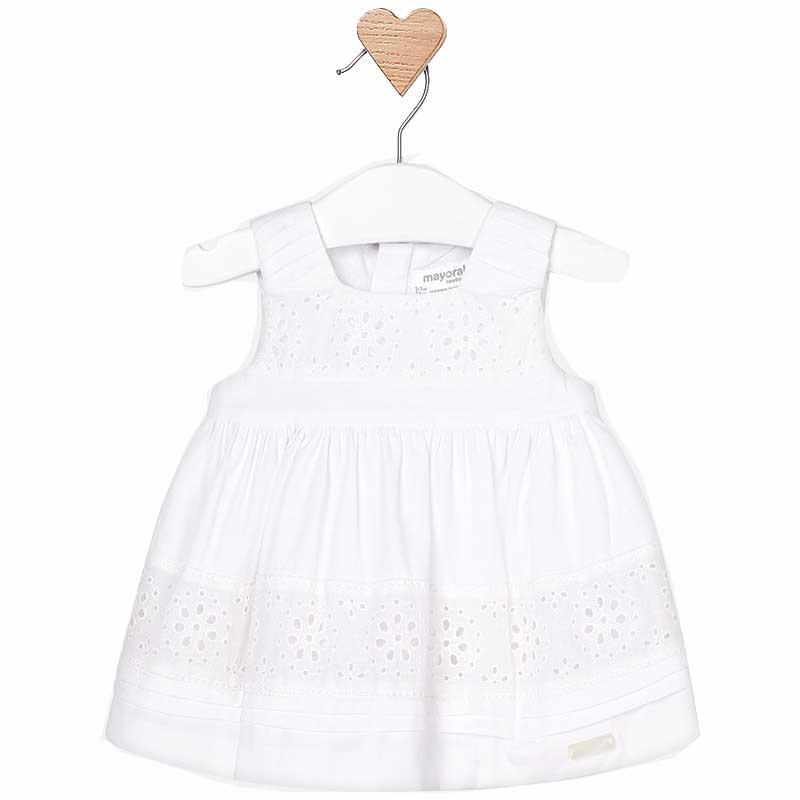 Φορεμα προεξοχες κεντητες Mayoral 29-01827 - λευκο Παιδικά