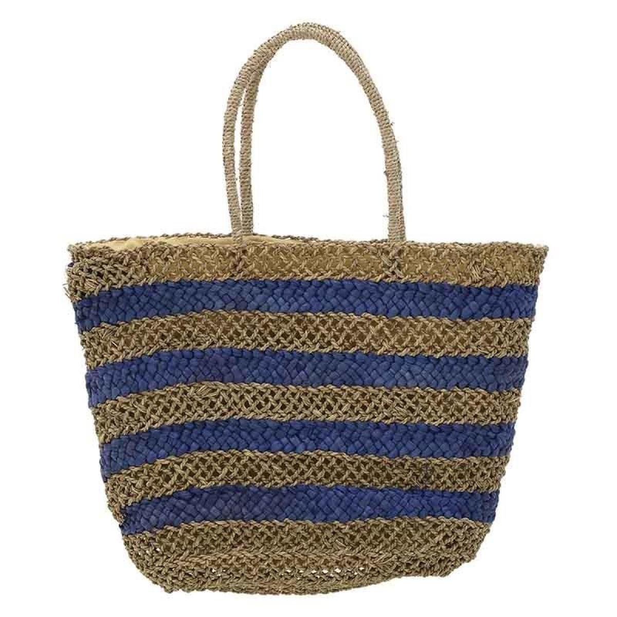 ba23b5f45e Τσάντα ψάθινη ριγέ Ble 5-42-151-0057 - μπλε Γυναικεία