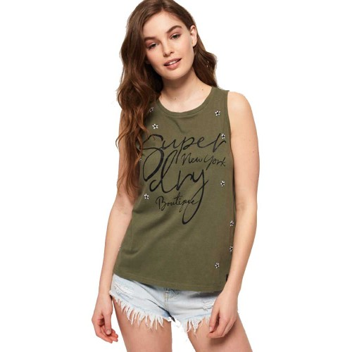 Tank Meadow Rock Superdry G60118OT - χακί Γυναικεία