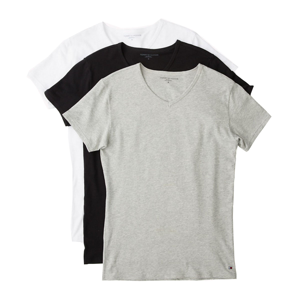 T-shirt 3 pack V neck Tommy Hilfiger 2S87903767 - γκρι-λευκό-μαύρο b990532ae02